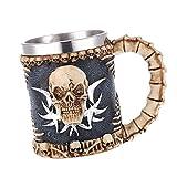 MagiDeal 3D Mug Inox Design Crâne Tête de Mort/Dragon Résine Chope à Bière Gothique Déco Pub Bar - 04, 14 x 8.5 x 11cm