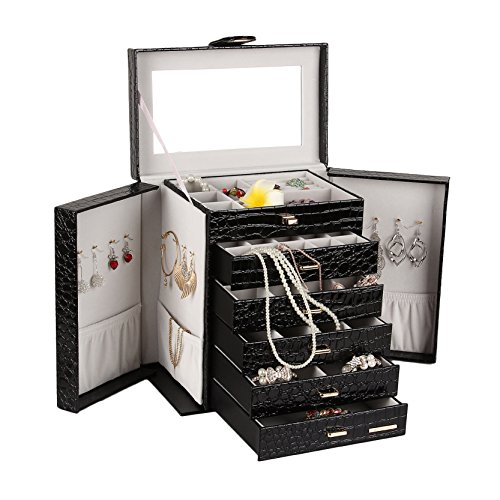 Schmuckkästen mit 5 Schubladen und Spiegel Schmuckschatulle Schmuckkasten Schmuckkoffer 28 * 17 * 30 cm (BLACK) -