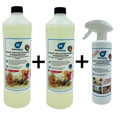 KaiserRein Teppichreiniger flüssig/Polstershampoo Konzentrat 2 x 1L Schaum für die Teppich- & Polsterreinigung manuell & maschinell Waschsauger -