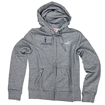 Puma Oracle Team USA America's Cup Womens Hooded Sweatshirt (12 Medium, Grey Zip up)