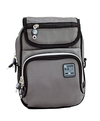Quokka Vertical Bag grau - Tasche für Rollstuhl, Rollator, Scooter, Fahrrad, Elektro-Rollstuhl, Wetterfest, Stoßfest mit Magnetverschluss und kontrastreicher Innenauskleidung (Elektro-rollstuhl)
