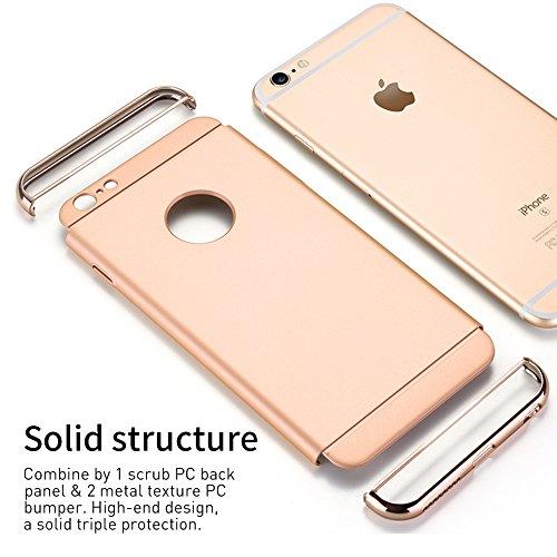 iPhone 6s Plus Hülle, RANVOO Elektroplattierter Kappen mit einer Matter Oberfläche 3-Teilige Styliche Extra Dünne Harte Schutzhülle Case for iPhone 6 Plus Silber,[CLIP ON] Gold