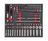 Würth Zebra Steckschlüssel-Set 3/8 + 1/4 Zoll Steckschlüssel Sortiment Knarrenkasten in Schaum Einlage 0965900903