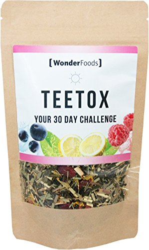 Detox Tee | Teetox Day von Wonderfoods | Deine 30 Tage Detox-Kur, Stoffwechselkur | Superfood Tee mit Himbeere, Chia Samen, Acai uvm. | abnehmen ohne Diät-Pillen | Kaffee Alternative