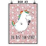 Mr. & Mrs. Panda Poster DIN A3 Einhorn Sänger - Einhörner, Unicorn, Einhorn, Glitzer, Konfetti, Party, Geburtstag, Feier, Fest, Disco, Sängerin, Sänger, Freundin, Poster, Wandposter, Bild, Wanddeko, Geschenk