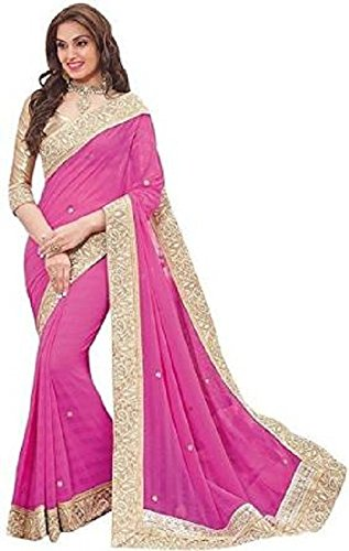 Sarees(DIYA Fashion New Disigner A georgette Party Wear Saree with Blouse Piece , Bollywood Designer Saree, latest collection designer(Pink Patta with stone work  available at amazon for Rs.475