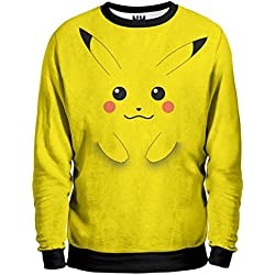 PIKACHU Pokémon Sweatshirt Man - Felpa Uomo - Poké ball Pokemon Go Rosso Blu Giallo, T-Shirt, Nintendo Game Boy 3DS