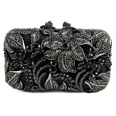 ZYT Damen-Hochzeit-Abendtasche-Metall Black