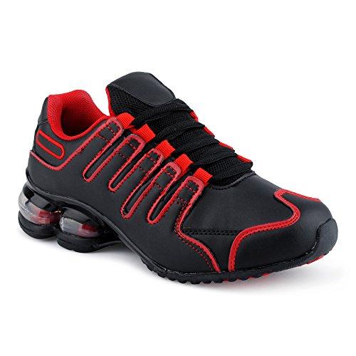 Fusskleidung Herren Damen Sneaker Sportschuhe Lauf Freizeit Neon Runners Fitness Low Unisex Schuhe Schwarz/Rot-W EU 39