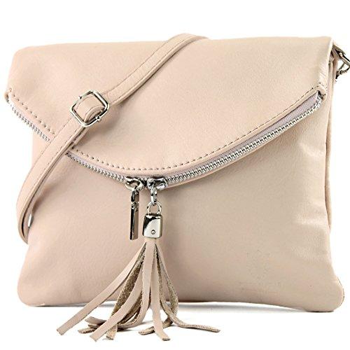 borsa di pelle ital. pochette pochette borsa tracolla Ragazze T139 piccola pelletteria T139 Rosabeige