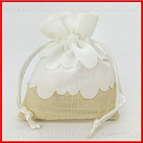 Ingrosso e risparmio 12 sacchettini portaconfetti bianchi e beige in cotone con balze e tiranti confettate fai da te comunione matrimonio (senza confezionamento)