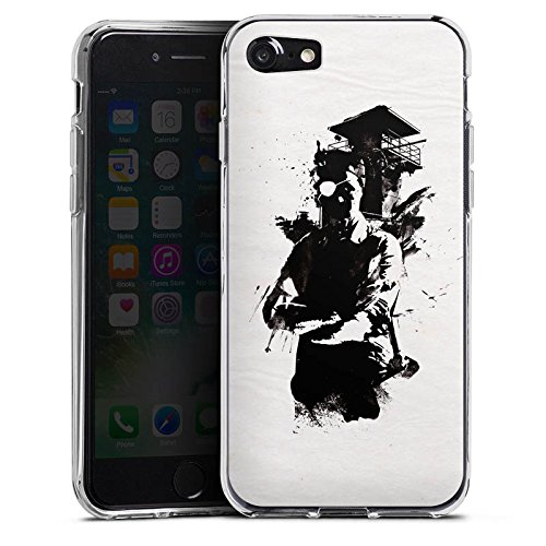 Apple iPhone X Silikon Hülle Case Schutzhülle Silhouette Wachturm Street Art Silikon Case transparent