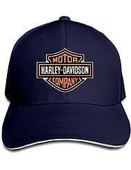 Huseki TopSeller Harley Davidson Logo Adjustable Peaked Baseball Caps Hats For Unisex Navy