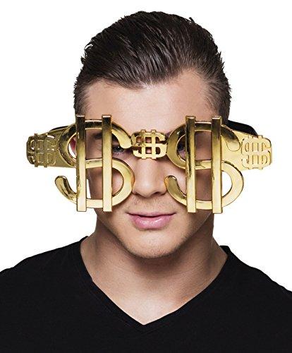 Halloweenia - Dollar Jumbo Brille, Kostümzubehör, Karneval, Fasching, Gold