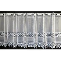 Cortina de media altura jacquard gráficamente altura 60 cm   Ancho de la cortina seleccionable por la cantidad comprada en pasos de 13 cm   Color: blanco   Cortinas cocina