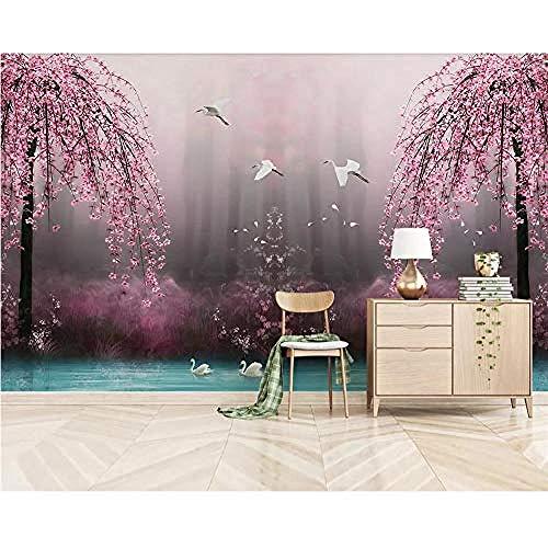 Raiev Mural Wallpaper Schöne verträumte rosa Cherry Swan Lake Landschaft Tv Hintergrund Wanddekoration 3D Wallpaper Hintergrund-350X245cm - Executive Cherry