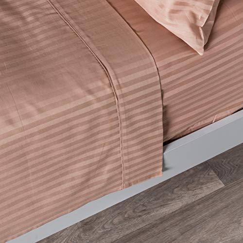 Homescapes Bettlaken Taupe/beige mit Satin-Streifen 178 x 255 cm - klassisches Betttuch/Haustuch - 100% reine ägyptische Baumwolle, Fadendichte 330 - 100% Ägyptische Baumwolle Streifen