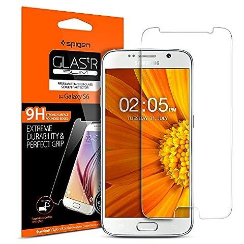 Protection écran Galaxy S6, en Verre Trempé, Spigen® **Easy-Install Kit** [Extreme Résistant aux rayures] **Ultra Clair** protection verre trempé Galaxy S6, Protection écran Samsung Galaxy S6 524GL20749