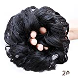 Donut à chignon, style flou avec cheveux ondulés synthétiques, accessoires pour cheveux de type extension avec élastique, pour femmes