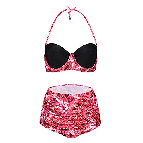 FeelinGirl Bikini Tankini 50er Damen Retro Vintage Bikini Sets High Waist Bademode Badeanzug Neckholder Swimsuit (XL(EU 38), Rot)