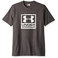 Under Armour Men's Branded Box Short Sleeve Athletic Shirt, Charcoal Medium Heat (020)/White, Large