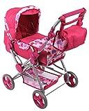 Kombi Puppenwagen Puppenbuggy Kuschel pink Herz mit Wickeltasche wie echt