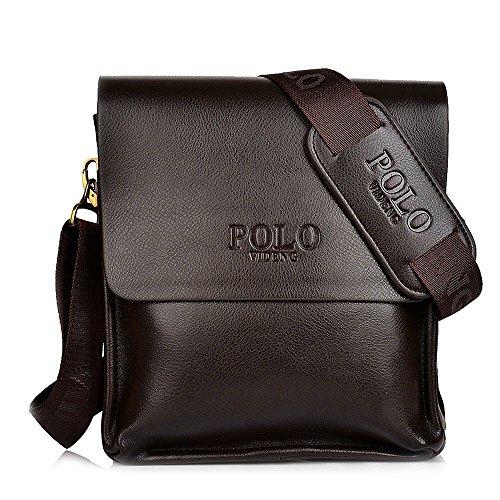 Messenger Bag Men's Brown Composite Leather Shoulder Bag +Brown Adjustable Canvas Strap Polo Videng