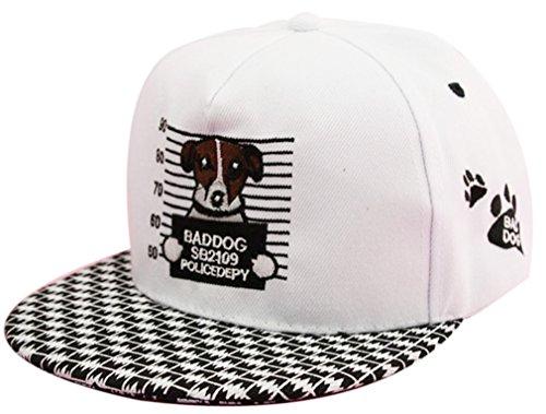 Belsen Damen Hip-Hop Hund Cap Baseball Kappe Trucker Hat (weiß)