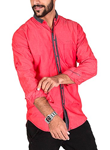 Rapphael Men's Casual Shirt (RPL-00001-S_Small_Red)