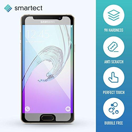1x Protector de Pantalla de Cristal Templado para Samsung Galaxy A3 2016 de smartect® | Lámina Protectora Ultrafina de 0,3mm | Vidrio Robusto con Dureza 9H y Antihuellas Dactilares