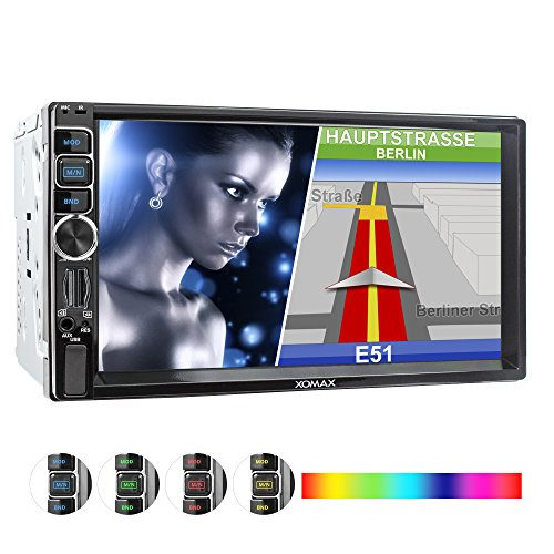XOMAX XM-2VN716 Autoradio mit Mirrorlink, GPS Navigation, Navi Software, Bluetooth Freisprecheinrichtung, 7 Zoll / 18cm Touchscreen Bildschirm, SD, USB, AUX, 2 DIN