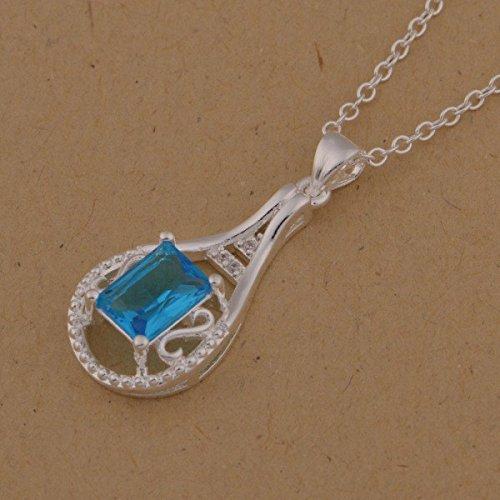 Collier cristal swarovski elements zirconium carré argent 925 Bleu turquoise