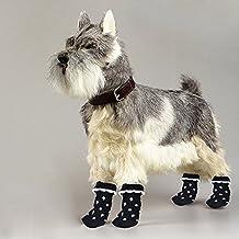 ma-on blanco de huellas de perro antideslizante calcetines con lunares (S), color negro