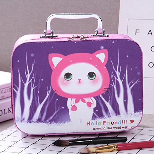 LULAN Kosmetiktasche Kosmetik, Pack Cartoon Sehr Schön in der Hand gehaltene zugeben Tank Kleine Party Tasche Kosmetik Box Lippenstift organisieren, 25 * 11 * 18 cm, Lila Kätzchen groß