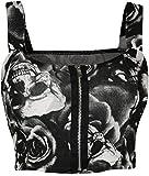 New Womens Skull Roses Monochrome Print Short Boobtube Bralet Ladies Crop Top 8-14