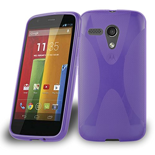 Preisvergleich Produktbild Cadorabo Hülle für Motorola G-Dvx Hülle in Handyhülle aus flexiblem TPU Silikon im X-Line Design Silikonhülle Schutzhülle Soft Back Cover Case Bumper Flieder Violett