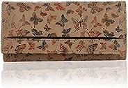 K London Butterfly Pattern Artificial Leather Women's Wallet (1515_Butter