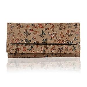 K London Women's Butterfly Pattern Leather Wallet (Beige) Best Online Shopping Store