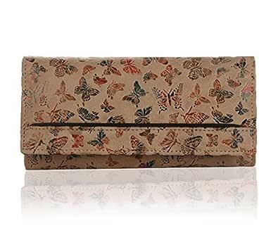 K London Women's Butterfly Pattern Leather Wallet (Beige)