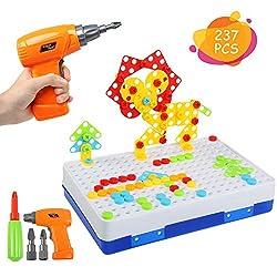 BelleStyle 237PCS 3D Puzzle Kinder Mosaik Steckspiel Bausteine mit Schraubendreher Schrauben Pädagogisches Spielzeug Geschenkset Kinder Werkzeugkoffer ab 3+ Jahre für Jungen Mädchen