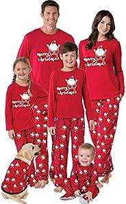 K-youth Ropa de Casa Familia Conjunto de Pijamas Familiares Unisexo Papá Noel Pijamas de Navidad Familiares Ro