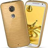 moex Motorola Moto X2 | Hülle Silikon Gold Brushed Back-Cover TPU Schutzhülle Ultra-Slim Handyhülle für Motorola Moto X 2. Generation Case Dünn Silikonhülle Rückseite Tasche