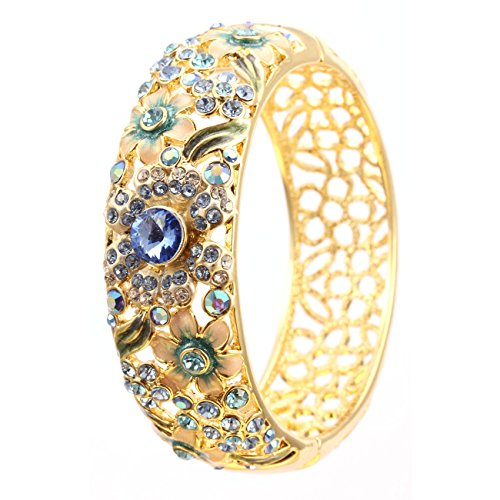 City Ouna® Elementi di Swarovski qualità in lega placcato 18k braccialetto etnico turchese Bracciale Bangle ampia per donne gioielli regalo con zirconi viola cristallo (Cloisonne33-2)