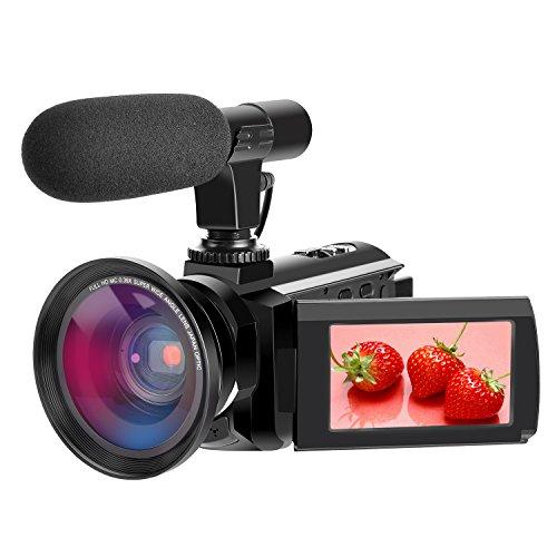 Caméscope 4K Caméra Vidéo Full HD 48.0MP Caméscope Appareil Photo numérique avec Microphone Externe Caméscope WiFi avec Vision Nocturne