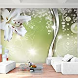 Fototapete Blumen Lilien Grün 352 x 250 cm Vlies Wand Tapete Wohnzimmer Schlafzimmer Büro Flur Dekoration Wandbilder XXL Moderne Wanddeko Flower 100% MADE IN GERMANY - Runa Tapeten 9077011a