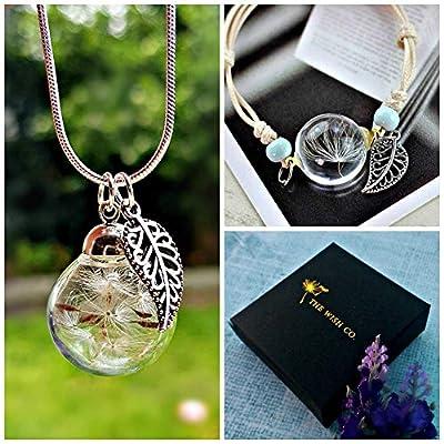 Jour de valentines Chaîne en argent sterling Collier de pissenlit et bracelet de pissenlit Ensemble-cadeau - Ensemble de bijoux assorti bracelet cordon cadeau d'anniversaire