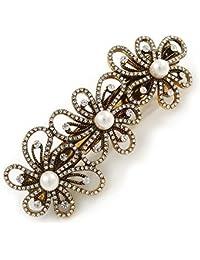 Vintage Dorado Envejecido abierto CUT Clear Crystal, flores, perlas y cristal blanco Pasador Clip Grip–85mm across