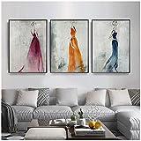 Dengjiam Künstlerische Wand Leinwand im Retro-Stil Frauen im Vintage-Kleid Druck auf Leinwand dekorative Wand Bild für Wohnzimmer3-teiliges Set
