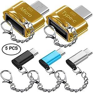 AFUNTA 5 Pezzi Adattatori Type-C con Portachiavi, USB-C a Micro USB, USB-C a USB 2.0 (Femmina), Micro USB 2.0 OTG Cavo, Connettore Convertitore C Tipo Caricabatteria rapido per Samsung S8 New Macbook
