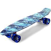 Zhuhaimei,Impression de Planches à roulettes Bleues Motif Ciel étoilé compléter 22 Pouces rétro Cruiser Longboard(Color:Multicolore)